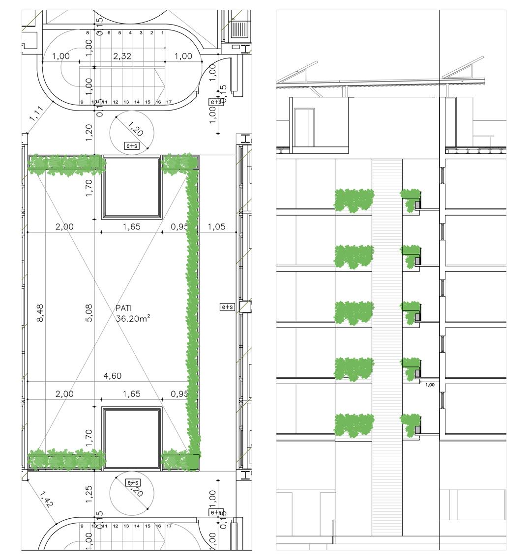 Cubierta verde y patio en calle Pau Claris por De Buena Planta
